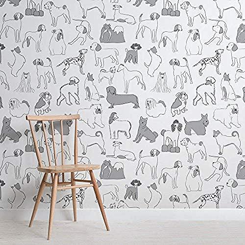 Papel pintado para mascotas con patrón Bulldog gris y blanco y perro salchicha Pared Pintado Papel tapiz 3D Decoración dormitorio Fotomural sala sofá mural-200cm×140cm