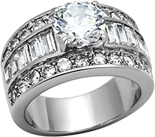 Stainless Steel White Round Cut Cubic Zirconia Wide Engagement Ring Women Size 5-10 SPJ