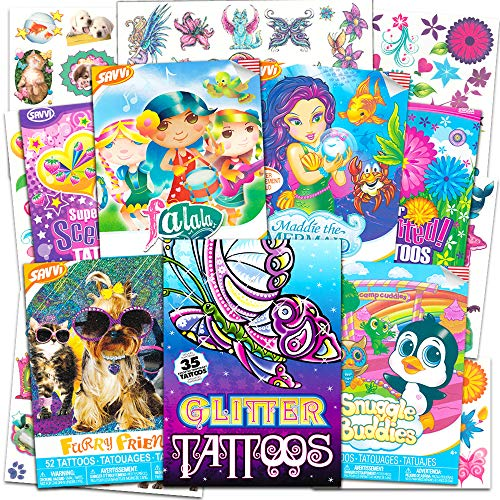 Savvi Temporary Tattoos for Girls Mega Set Bundle with Over 360 Glitter Flash Scented Tattoos ~ Includes Butterflies, Flowers, Fairies, Mermaids, Food, Animals and More (Tattoo Party Favors for Kids)