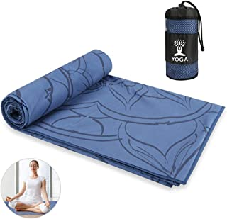 Number-one Yoga Towels, Super Soft Non Slip Hot Yoga Mat Towel Water Absorption and Quick Dry, Microfiber Print Stretch Yo...