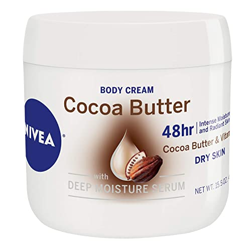 NIVEA Cocoa Butter Body Cream - 48 Hour Moisture For Dry Skin To Very Dry Skin - 15.5 oz. Jar