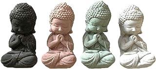 VIXU Paquete de Buda Bebé 4 Piezas Multicolor de Cemento con Mármol para Decoración