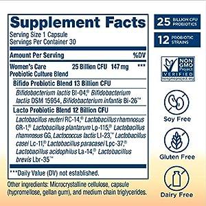 Renew Life #1 Women's Probiotics 25 Billion CFU Guaranteed, 12 Strains, Shelf Stable, Gluten Dairy & Soy Free, 30 Capsules, Ultimate Flora Women's Care - 60 Day Money Back Guarantee