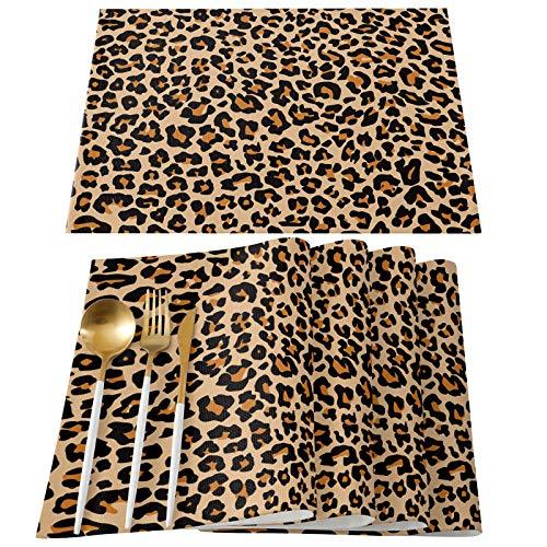 EZON-CH Placemats Set of 4 Dinner Napkins Cotton Linen Burlap Heat Resistant Table Mats Leopard Print Animal Fur Pattern Washable Non-Slip Placemat for Banquet Kitchen Dining Table Decor 13 x 19 Inch