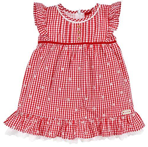 BONDI Vestido regional para niña 86436 | rojo/blanco – Vestido de verano infantil con flores bordadas rojo/blanco 9 mes