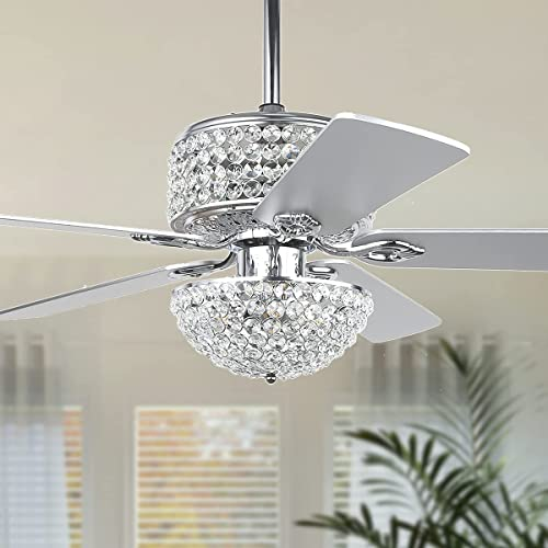"""wholesale Crystal Ceiling Fan with 2021 Lights, 52"""" Modern Chandelier Fan with Remote outlet online sale Control, Quiet Fandelier with Reversible Dual Finish Blades, Indoor Fan Perfect for Living Room Dining Room, Bedroom, Silver online sale"""
