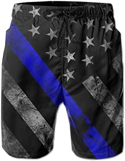 Mens Swim Trunks Summer Cool Blue Lives Matter Flag Quick Dry Board Shorts Bathing Suit with Side Pockets Mesh Lining M-XXL