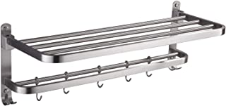 ELLO&ALLO Stainless Steel Rack Shelf for Bathroom, Double Towel Bar Holder with Hooks Wall Mounted Multifunctional Foldable Brushed Nickel, Burshed