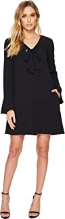 Donna Morgan Women's V Shift Dress with Tie at Center Front Neck