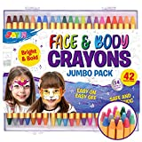 42pcs Face and Body Paint Crayons, Face Painting Kit Safe and Non-Toxic Ultimate Party Pack Including 14 Metallic Colors for Birthday Makeup Party Supplies, Festivals