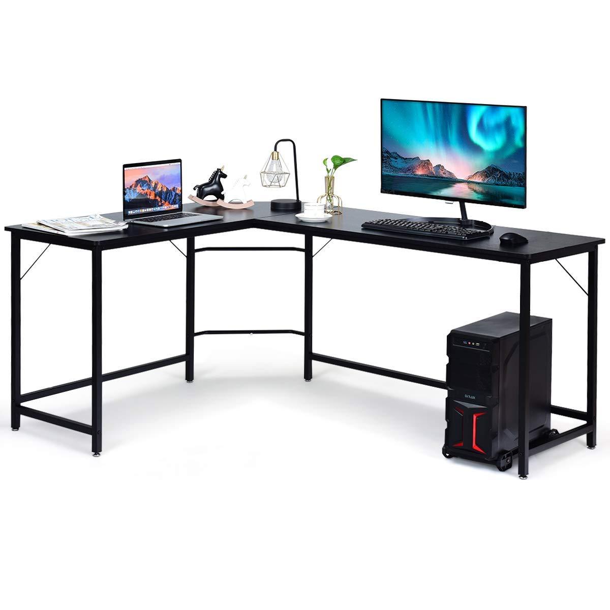 Tangkula Mesa esquinera para ordenador con soporte para CPU, mesa ...