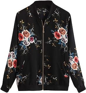 Women Fashion Floral Printed Jacket Zipper Chiffon Bomber Outwear Trendy Coat