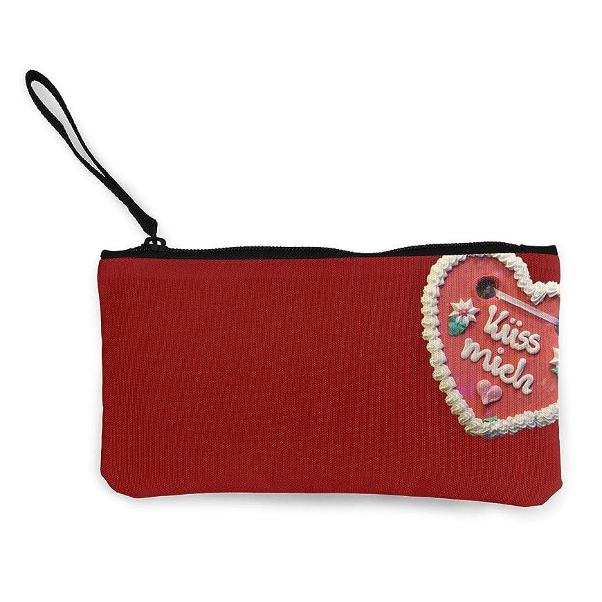 契約した彼女アイロニーErmiCo レディース 小銭入れ キャンバス財布 ジンジャーブレッド 心 小遣い財布 財布 鍵 小物 充電器 収納 長財布 ファスナー付き 22×12cm