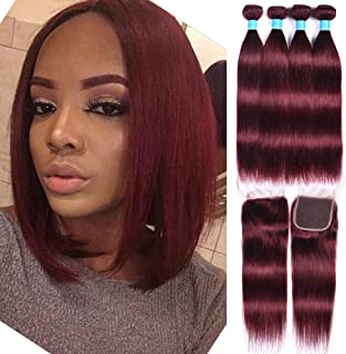 99j Burgundy Straight Hair Weaves 50g/Bundles 4 Bundles with Lace Closure 4x4 Free Part Red Wine Color 100% Unprocessed Human Hair Weft Weaves Peruvian Hair(10101212+10)