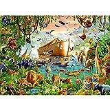 YGVXX Paisaje bordado de diamantes Noah S Ark 5D Diy pintura de diamantes animales de dibujos animados imágenes redondas completas decoración del hogar 40x50cm