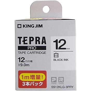 キングジム テプラ PROテ-プカ-トリッジ SS12K 白/黒文字 長尺3本P SS12KLG-3PRY
