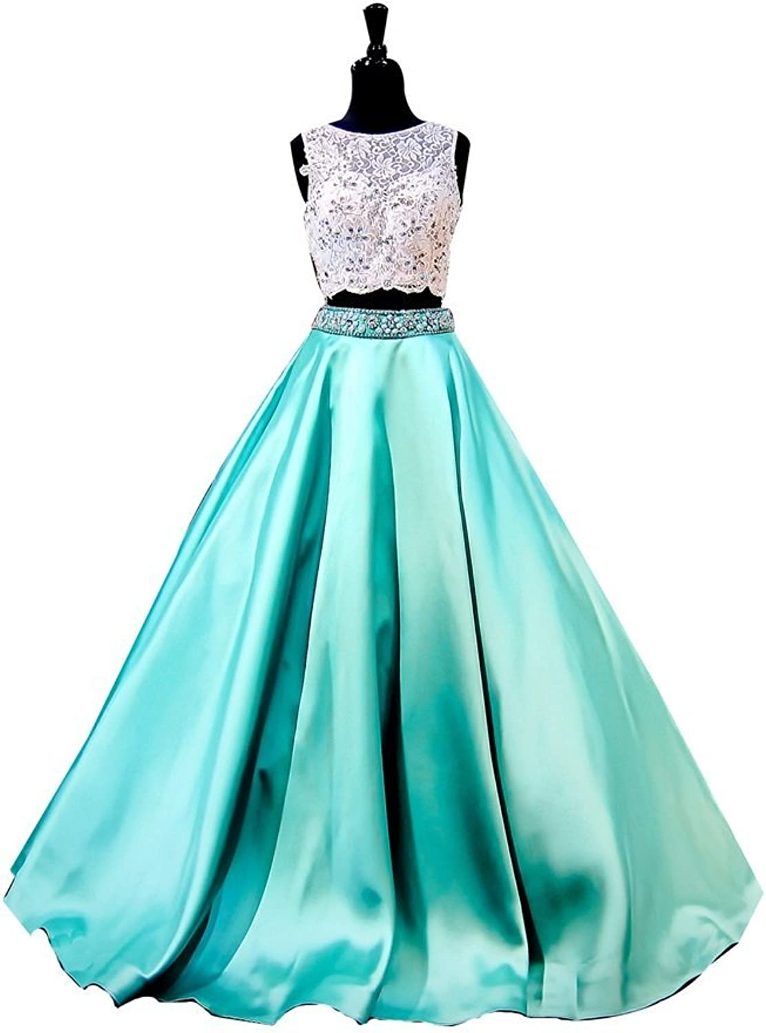 Irenwedding Women's Jewel Applique Beads Crystals Keyhole Back Two Piece Prom Dress