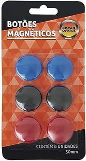 Botão Magnético Colorido 6 Unidades de 30mm Cada Jocar Office Leonora, Colorido