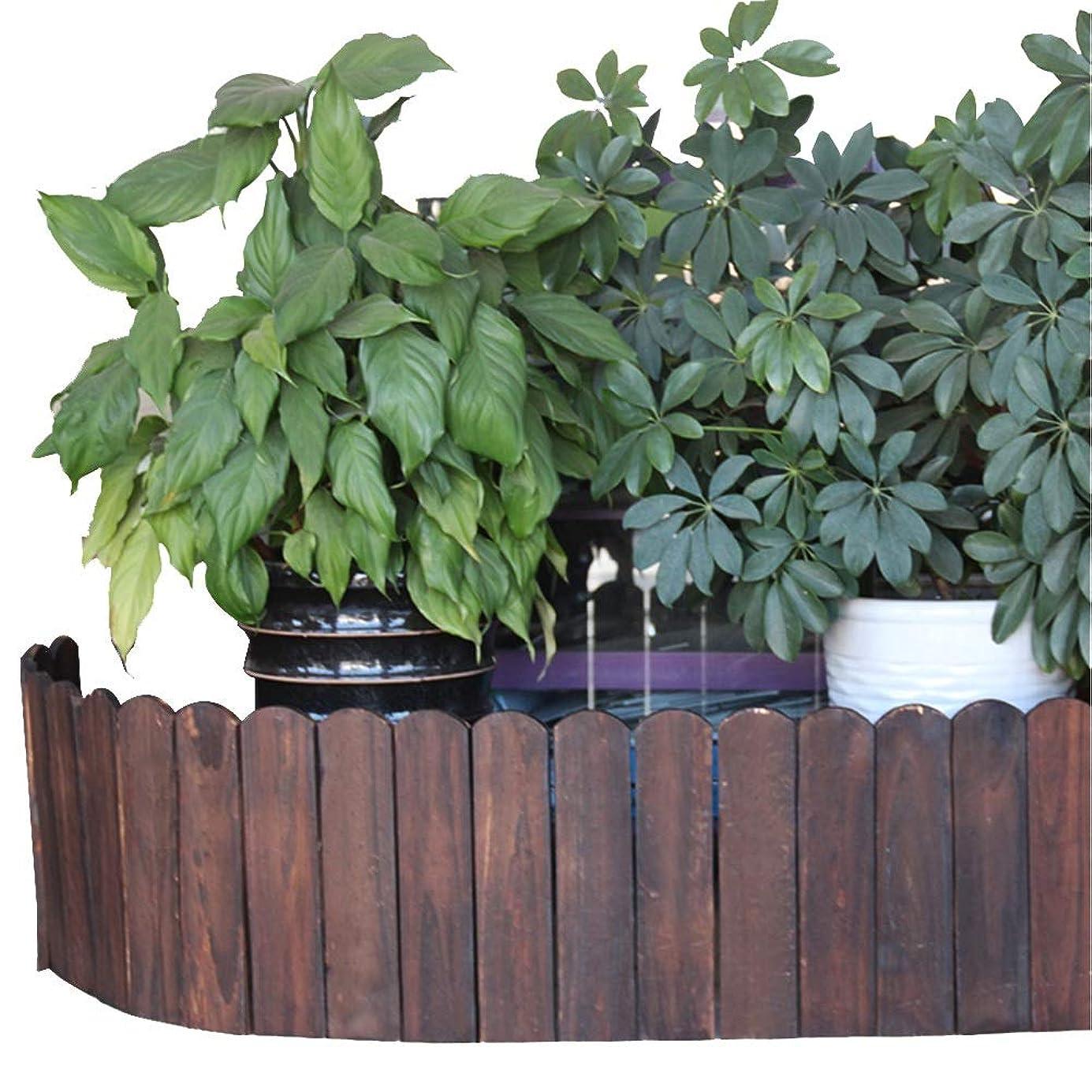YYFANG 木製フェンス耐候性のある含浸の庭の装飾の木の塀の高温炭化の植物保護、5サイズ (Color : Brown, Size : 100x50cm)