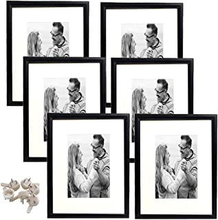 hierkryst Black 8x10 Picture Frame Wood Photo Frames for Wall or Table, Display Pictures 5x7 with Mat or 8x10 Without Mat,Set of 6