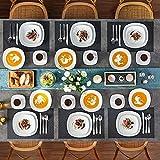 MALACASA, Serie Elisa, 60 TLG. Set Tafelservice Porzellan Kombiservice mit 12 Kaffeetassen, 12 Untertassen, 12 Dessertteller, 12 Suppenteller und 12 Essteller - 7