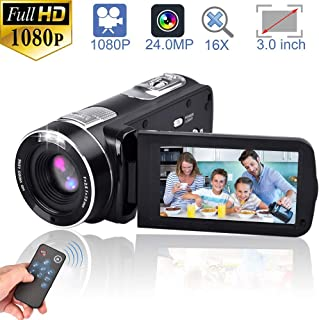 Video Camera Camcorders, GOXMGO Remote Control Handheld Digital Camera with IR Night Vision, HD 1080P 24.0MP 16X Digital Zoom(2 Batteries)