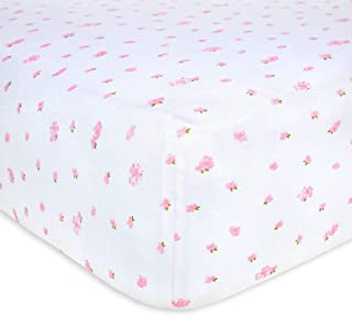 """Burt's Bees Baby Fitted Crib Sheet 100% Organic Cotton, W28"""" x L52"""", Blossom Butterfly Garden"""