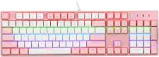 E-Yooso Mechanical Gaming Keyboard, PBT Special Edition, Multi-Color LED Backlit USB Wired with Outemu Blue Switches