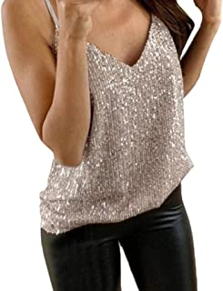 186505ee04 Reokoou Tank Tops for Womens, Ladies Glitter Sequin V Neck Sleeveless  Strappy Vest Plus Size