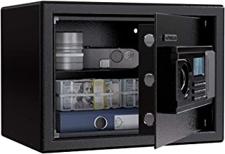 SLYPNOS Digital Security Safe, Large Lock Box with LED Display, Solid Steel Construction with Deadbolt Lock Wall-Anchoring Design for Home Hotel Gun Medication (0.7 Cubic Feet)