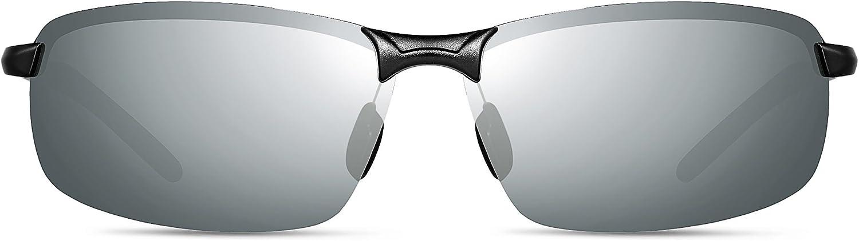 ATTCL Homme Rectangulaire Lunettes De Soleil Polarisé Al-Mg métal Cadre Super Léger Argent