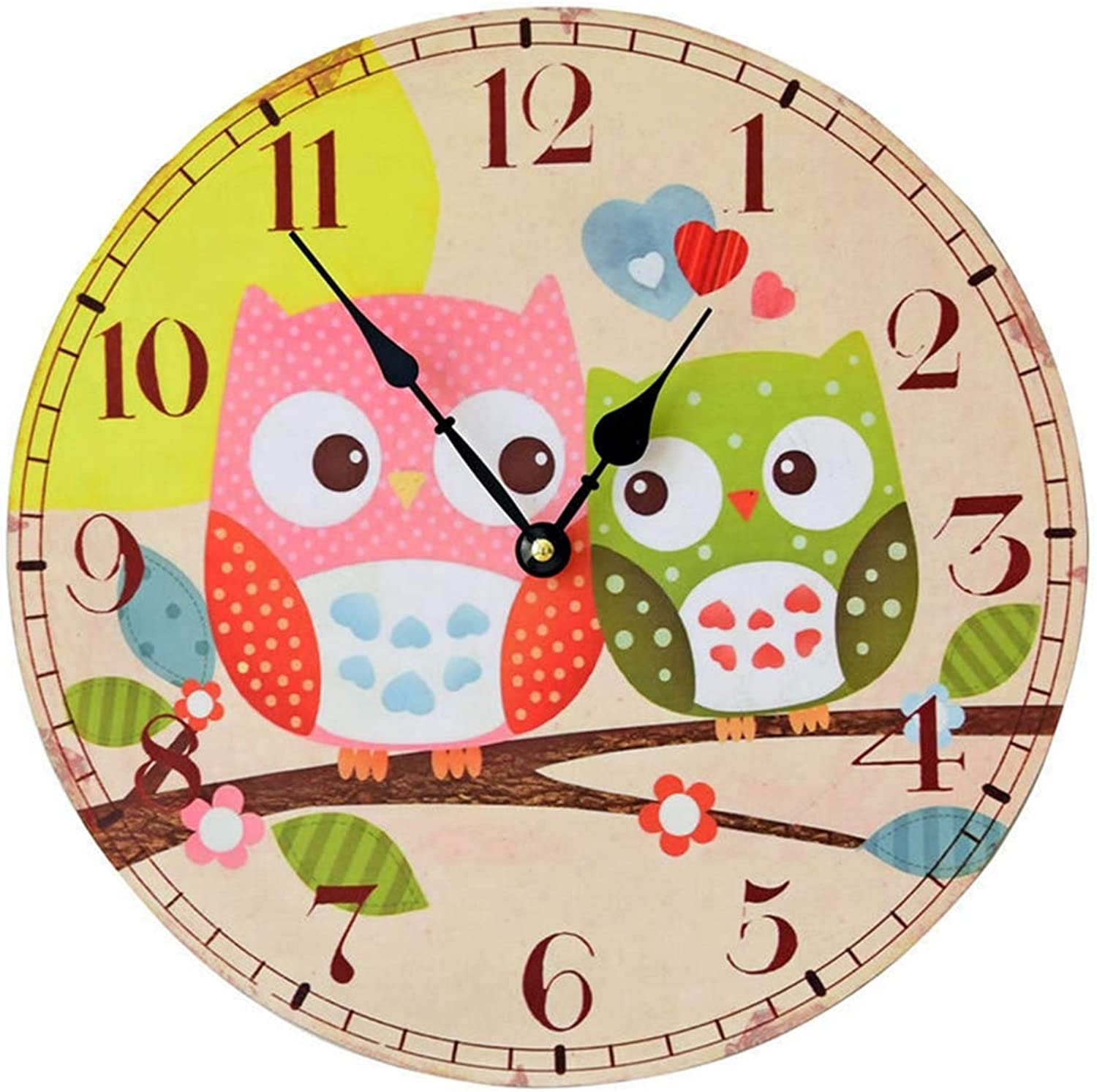 Simple Rustic Style Wall Clock,Retro color Printing Wooden owl Pattern Wall Clock Living roon Wall Bedroom Mute Wall Clock,35  35cm