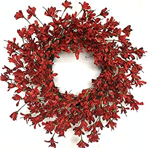 Huashen 24inch Artificial Spring Summer Wreath,Front Door Blossom Cluster Wreath on Grapevine,Red& Burgundy Forsythia Flower Farmhouse Wreath for Wall Window Hanging Decor