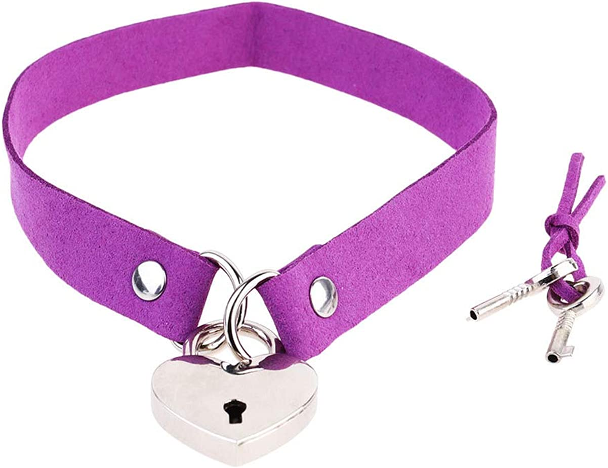 Happyyami Lover Heart Padlock Necklace Leather Choker Necklaces Collar Choker Neck Chain for Girl Women Lady