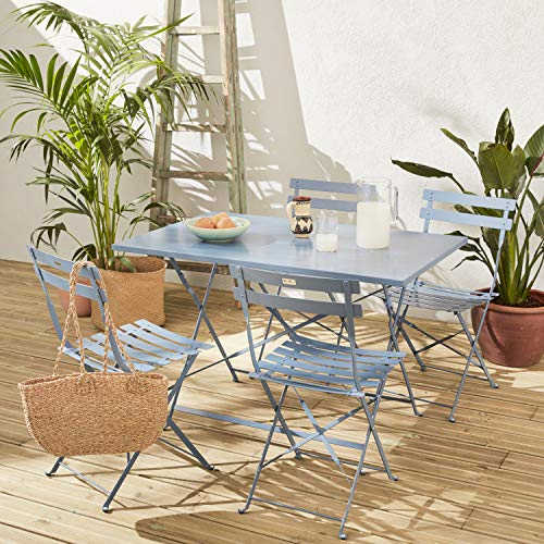 Muebles de jardín bistró Plegable Emilia - Rectangular Azul Gris - Mesa de 110x70cm con Cuatro sillas Plegables, Acero con Recubrimiento en Polvo
