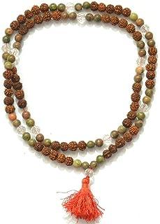 Odishabazaar Unakite Unknoted Chakra Japa Mala Yoga Prayer Meditation 108+1 Bead