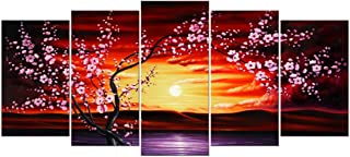 Wieco Art Plum Tree Blossom Large Size 5 Panels Modern Giclee Canvas Prints Flowers Artwork Contemporary Floral Pictures Paintings on Canvas Wall Art Decor for Living Room Bedroom