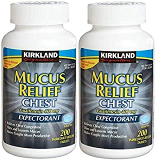 KIRKLAND SIGNATURE Mucus Relief Chest Guaifenesin 400 Mg Expectorant - 200 Tablets (Pack Of 2, 400 Total)