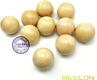 Bescon 1-1/4 inch Natural Hardwood Round Balls 10pcs Set- Lacquered Wooden Balls Crafts & Architectural Work & Design DIY