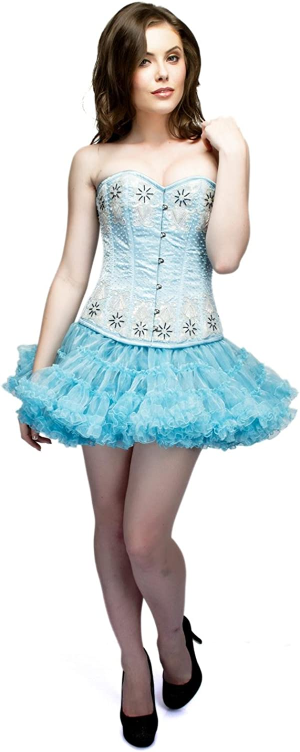 Baby bluee Satin Sequins Burlesque Overbust Basque Tissue Tutu Skirt Corset Dress