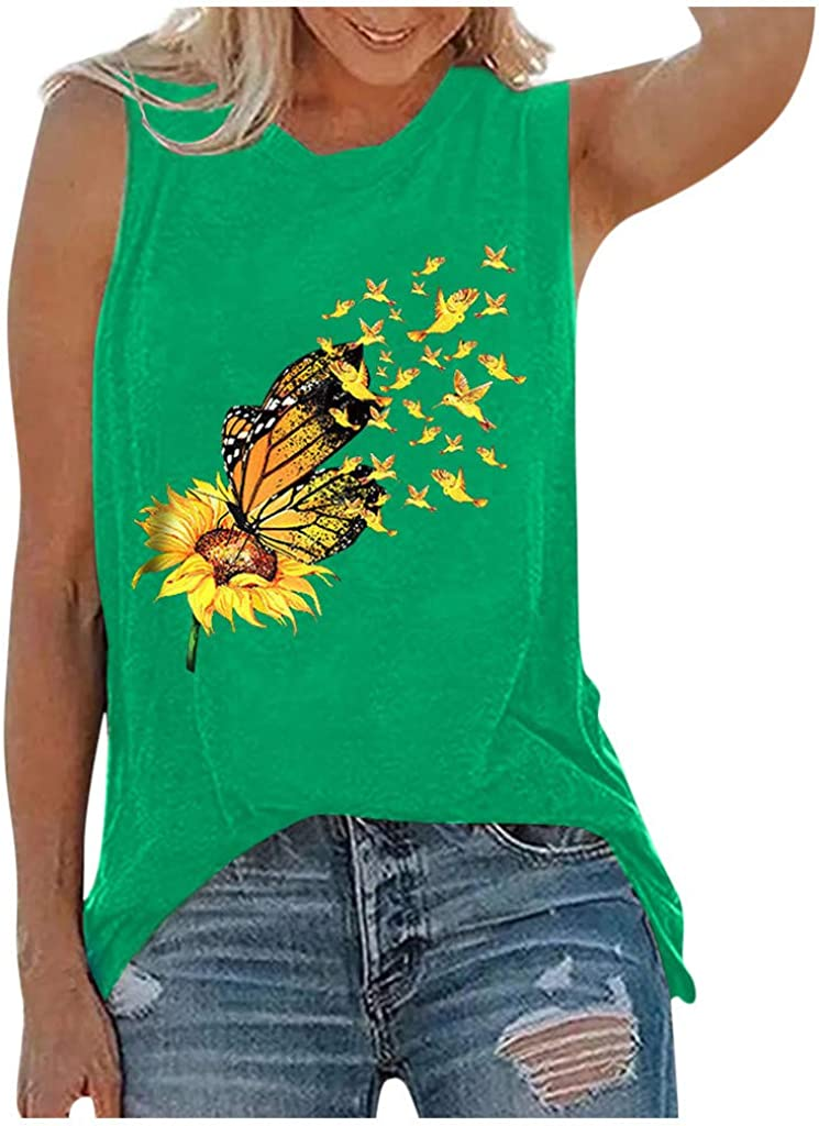 Summer Tank Tops for Women,Womens Summer Vintage Cute Flower Printed Vest Round Neck Sleeveless Tshirt Tops Tunic