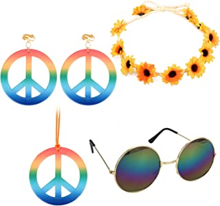 Euvoym 4 Pieces Hippie Costume Set Hippie Accessories Hippie Glasses Hippie Style Peace Sign Necklace Earrings Hippie Head...