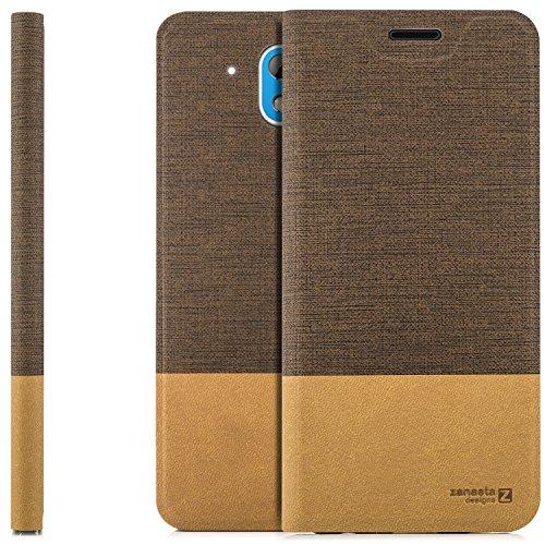 zanasta Designs Tasche HTC Desire 526G Hülle Flip Case Slim Schutzhülle Handytasche mit Kartenfach, Standfunktion | Hellbraun