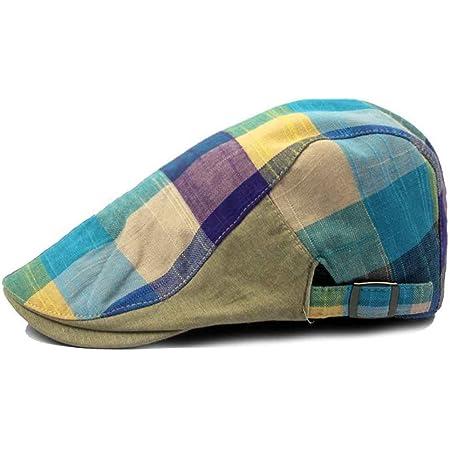 Bobury Hombres Color Lattice Cap Hat Boina Hat Ajustable Flat Top Boina Cap