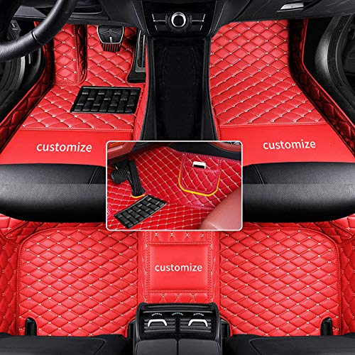 Muchkey car Floor Mats fit for 95% Custom Style Luxury Leather All Weather Protection Floor Liners Full car Floor Mats Red
