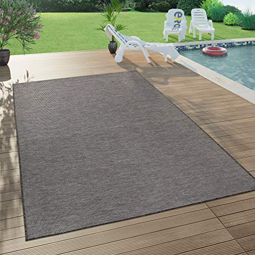 Paco Home In- & Outdoor-Teppich Für Wohnzimmer, Balkon, Terrasse, Flachgewebe In Grau, Grösse:120x160 cm