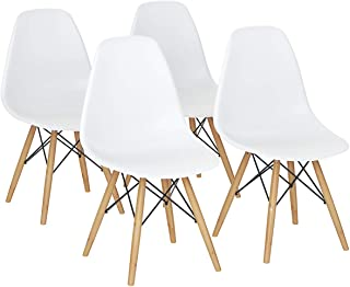 Giantex DSW Dining Chair, Pre Assembled Mid Century Style Wood Dining Chairs, Modern DSW Chair, Shell Lounge Plastic Side Chair for Kitchen, Dining, Bedroom, Living Room, Set of 4, White