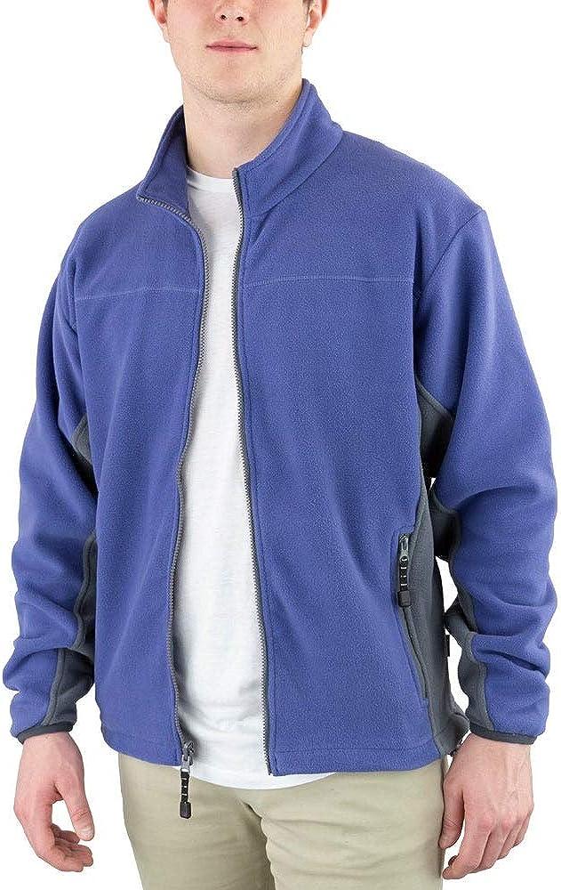 River's End Mens Microfleece Jacket Athletic Full Zip Drawstring - Blue