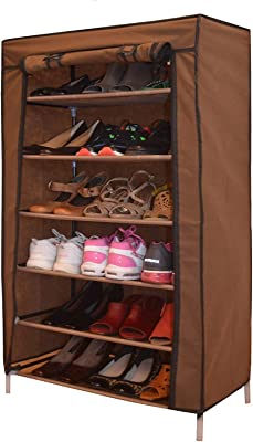 BUCKETLIST Home 5 Tiers Multi-Purpose Books/Paper/File/Shoe/Toys/Showpiece/Storage Organizer Cabinet Tower with Iron and Nonwoven Fabric with Zippered Dustproof Cover
