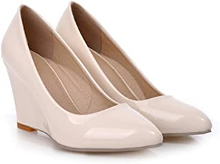 c20b426c99f Special-Shop Women Pumps Wedge Heel Shoes Pointed Toe High Heels Female  Plain Apricot Shoes